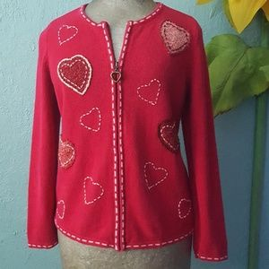 Christopher & Banks heart patch cardigan sweater M